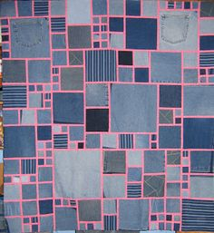 Denim Quilt based upon pattern from Kaffe Fassett's book Glorious Patchwork--it looks much better with black strips rather than this hot pink. Click for a kinda-tutorial/block layout pattern