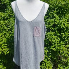 $10 SALE!!!!!! Size xl.  Old navy tank top.  Gray with pink stripe pocket and pink stripes on back. Tops Tank Tops