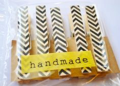Black  Chevron Stripe Washi Tape Clothes Pins