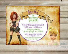 Convite feericamente do aniversário do pirata - Zarina e convite da festa de fada pirata Tinkerbell - Sininho - Impressão ou impresso w / Envelopes