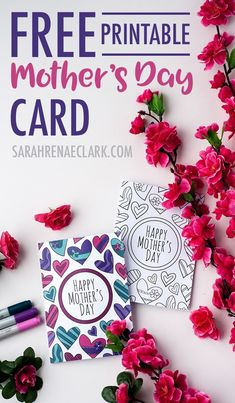 This free printable Mother's Day card is fun to color in and a great way to personalize your Mother's Day gift! This is a sample card from my pack of 8 coloring cards for Mother's Day Mothers Day Coloring Cards, Mothers Day Cards, To Color, Color Card, Free Coloring Pages, Coloring Books, Colouring, Adult Coloring, Craft Gifts
