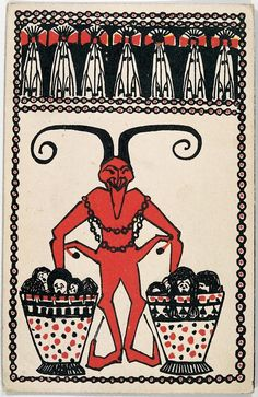 Christmas Season is Krampus time, a Viennese greeting card from 1908. Wiener Werkstatte | Photo by Imagno/Getty Images