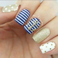 53 Collection of Awesome Anchor Nail Art Designs - Nails C Anchor Nail Designs, Anchor Nail Art, Nail Art Designs, Nails Design, Nautical Nail Designs, Hair And Nails, My Nails, Jamberry Nails, Cruise Nails