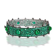 Emerald bracelet featuring diamond-cut and cabochon Zambian #emeralds and rose-cut #diamonds-- stunning!