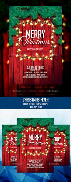 Christmas - Clubs & Parties Events Features: Fully layered CMYK mode Print Ready bleed Font info included in the help file. Christmas Poster, Christmas Signs, Christmas Balls, Christmas And New Year, Red Christmas, Christmas Events, Christmas Flyer Template, Christmas Templates, New Year Designs