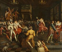 Ball at the Valois court, painting, French School, circa 1580. Museum of Fine Arts of Rennes - see also http://www.mbar.org/collections/guide/14-18/040.php