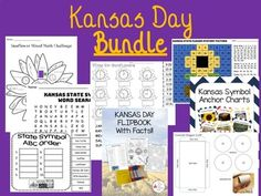 Includes: Kansas Day Mixed Math Challenge Kansas Day Packet with ABC Order, Mystery Picture, and More Kansas Day Sunflower Clocks to the Hour and Half Hour Kansas Day Flip book with Facts Kansas Day Symbol PowerPoint Presentation with Teacher History pages Kansas Day Symbol Anchor Kansas Day, Cool Symbols, Math Challenge, Reiki Symbols, History Page, Anchor Charts, Tea Party, Mystery, Presentation