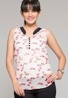 ITI Sleeve Less Solid White Top RS.899/-