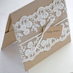 Lace wedding invitations - Rustic wedding invitations - pocketfold invitesâ?¦