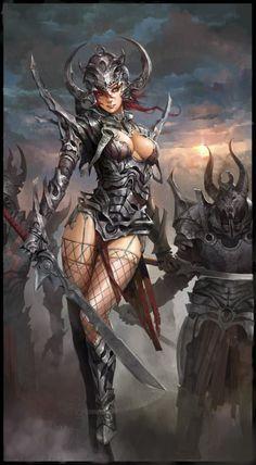 Fantasy artwork by Shanghai based artist. The tempting woman warrior. Dark Fantasy Art, Fantasy Artwork, Fantasy Art Women, Fantasy Girl, Fantasy Warrior, Warrior Girl, Dark Warrior, Warrior Women, Fantasy Characters