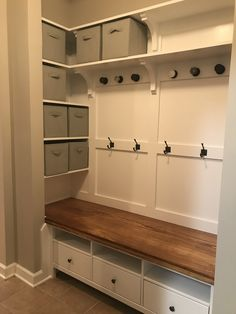 Turned closet into a mudroom by removing the doors and opening the wall above it. Used an Ikea cabinet at the base, and everything custom made above that. Closet Redo, Front Closet, Make A Closet, Closet Renovation, Closet Remodel, Mudroom Laundry Room, Mudroom In Closet, Walking Closet, Home Organization