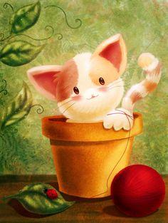 Kitty in a flowerpot by AliciaBel.deviantart.com on @deviantART
