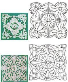 Подборка квадратных мотивов...I especially love the top motif! ..