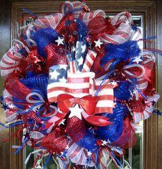 deco mesh   Deco Mesh AMERICAN FLAG PATRIOTIC Wreath