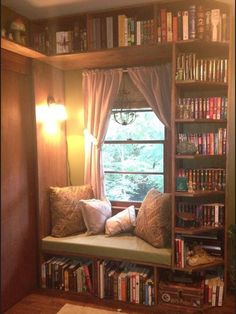 If we painted a winter in that nook behind the workout area, we could totally do a cute bench like this surrounded by books!