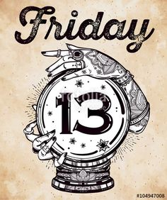 Vector: Friday 13 numerals in a Crystal Ball illustration.