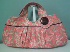 Coral Charming Bag made with a remnant of Home Decor fabric & pattern from @J O-Ann Fabric and Craft Stores