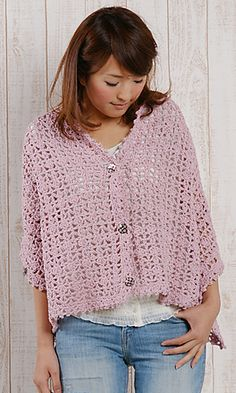Convertible Shawl Vest free pattern by Pierrot (Gosyo Co., Ltd) - English and Japanese versions are fully charted using standard crochet symbols
