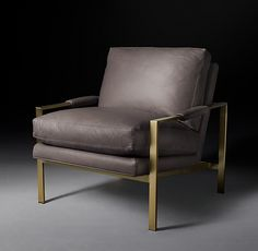 Restoration Hardware - Milo Baughman Model Leather Chair 1966 Italian Roma Graphite Leather with Satin Brass finish x x Painting Wooden Furniture, Furniture Ads, Furniture Movers, Fine Furniture, Luxury Furniture, Modern Furniture, Furniture Storage, Furniture Projects, Black Dining Room Chairs