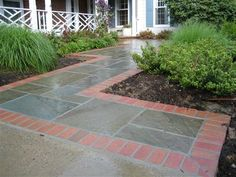 brick entry and flagstone