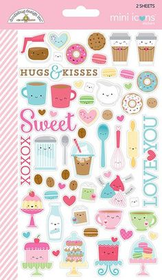Doodlebug Design - Cream and Sugar Collection - Cardstock Stickers - Icons - Mini Kawaii Stickers, Diy Stickers, Scrapbook Stickers, Printable Stickers, Printable Planner, Planner Stickers, Scrapbook Paper, Doodles, Scrapbook Embellishments