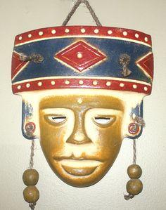 Large Vintage Aztec Terracotta Wall Mask,  Antique Alchemy