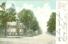 Corner of Fulton and Sheldon Streets in 1908 (now home to the WMCAT Building) Fulton, Worlds Largest, Michigan, Corner, History, Street, Building, Painting, Outdoor