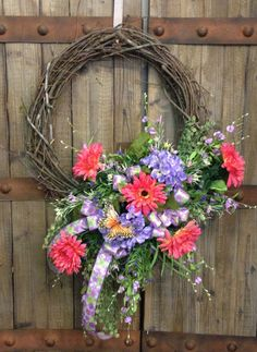 Coral and Purple Grapevine wreath by WilliamsFloral on Etsy, $65.00