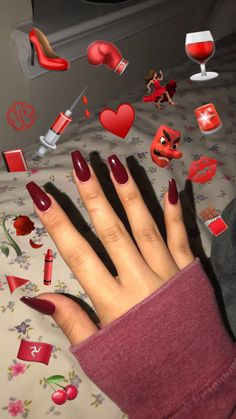 Maroon sarong nails by Nagelmode Aycrlic Nails, Coffin Nails, Cute Nails, Pretty Nails, Manicure, Nail Nail, Coffin Acrylics, Jamberry Nails, Maroon Nails