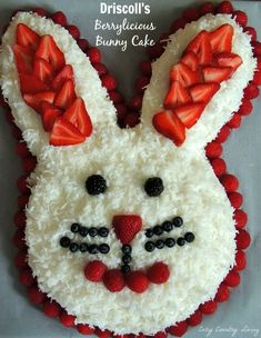 Driscoll's Berrylicious Bunny Cake for Easter Easter Dinner, Easter Brunch, Easter Party, Holiday Cakes, Holiday Desserts, Holiday Treats, Easter Deserts, Easter Treats, Easter Food