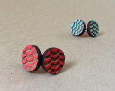Chevron lasercut bamboo earrings mint / pink by pombypomegranate
