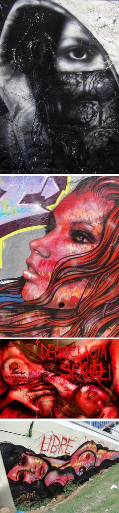 Grafite feminista da artista brasileira Panmela Castro aka Anarkia.
