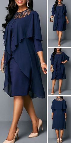 Round neck three quarter sleeve chiffon dress this trending styles feature layers of flowing navy fabric and unique embellishments that will stand out pair it up with jewelry to dress it up for your next party African Fashion Ankara, African Wear, African Dress, Dress Outfits, Fashion Outfits, Fashion Trends, Fashion 2020, Vestidos Plus Size, Vetement Fashion