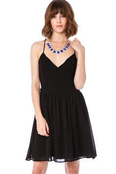 Chiffon Luna Dress in Black / ShopSosie #chiffon #dress #black #vneck #shopsosie