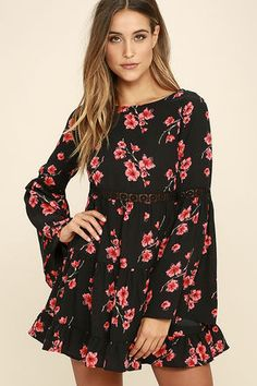We are gathered here today to celebrate how flawless you'll look in the  Dearly Bell-loved Black Floral Print Long Sleeve Dress! Woven dress has long  bell ...