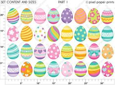 Easter Eggs Clipart Clip art and Digital paper set Digital Easter Egg Designs, Creation Deco, Easter Printables, Easter Cookies, Egg Decorating, Easter Crafts, Happy Easter, Painted Rocks, Easter Eggs