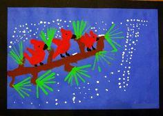 Winter Red Birds, printmaking, painting, 1st grade