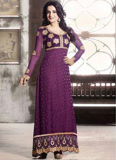 Ameesha Patel  purple anarkali suit