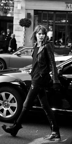 Moto jacket leather, rugged boots, black and white