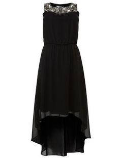 Black Chiffon Embellished Collar Dip Hem Dress £19.99