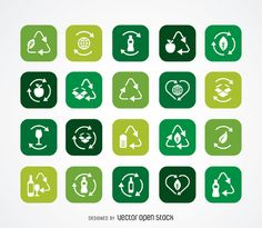 Ecology and recycle icon collection - Free Vector