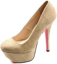 Women's Qupid Taupe Suede Round Toe Platform High Heel Pump Size 9.0 (Psyche01) ** You can find more details by visiting the image link.