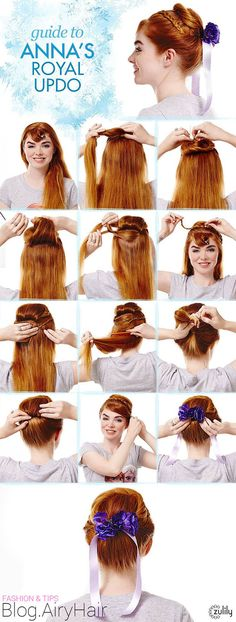 Disney Frozen Annas Royal Updo Hair Tutorial  Step by Step: Disney Frozen Elsa & Anna Step Hair Tutorials