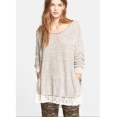 NWT FREE PEOPLE Hand Knit Crochet Sweater Gorgeous!!  New with tags.  Light brown/ivory combo. Hand knit with awesome crochet hem. No trades. Price is firm. Free People Sweaters Crew & Scoop Necks