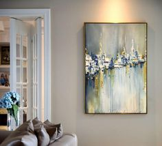 Abstract Oil Painting Urban Abstraction Abstract Art Original Painting Gold Painting Wall Art On Canvas with texture detail by Julia Kotenko by JuliaKotenkoArt on Etsy