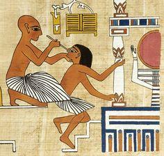 Un oculista cura el ojo de un artesano. Copia de una pintura de la tumba de Ipuy.
