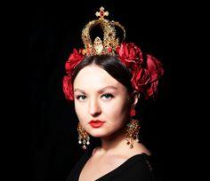 ROYAL VALENTINE Gold Crown Set Red Dolce Headband Swarovski Red Women Crown Prom #Set