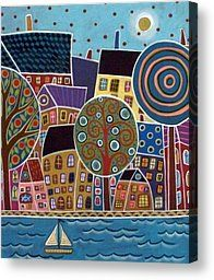 City By The Sea Painting by Karla Gerard - City By The Sea Fine Art Prints and Posters for Sale