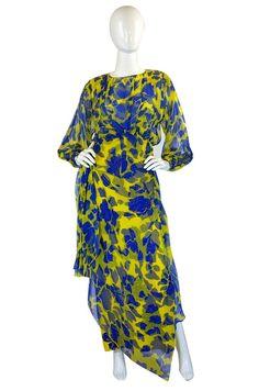 1970s James Galanos CoutureSilk Dress