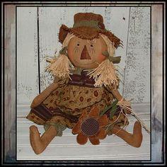 Primitive folk art scarecrow girl hand embroidered by lazydayzlucy, $36.00 #scarecrow rag doll #country style #Lucys Lazy Dayz Primitives